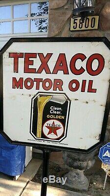 Rare Vintage Sign De Double Face Curb Texaco Gasoline Porcelain Avec Support