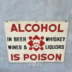 Rare Vintage Wctu Double Face Signe De L'alcool Est Un Poison Non Porcelaine