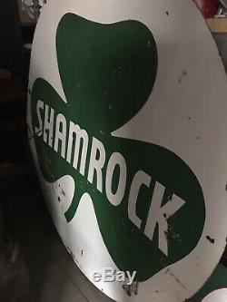 Rarevintage Shamrock Huile Et Porcelaine Signe Gaz Double Face 1950 6 Pied De Page De Nice