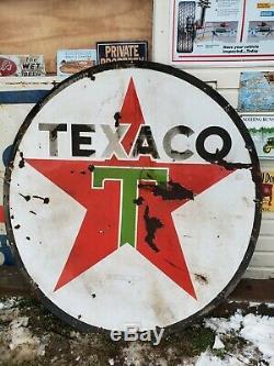 Revendeur De Station D'essence En Porcelaine Double Face Original Texaco