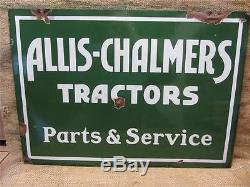 Revendeur De Tracteurs Allis Chalmers Vintage En Porcelaine Double Face Antique 8496