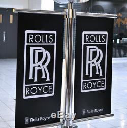Rolls Royce Double Face Chrome Timepiece Horloge Grand Street Art Drapeaux Signe De Poste