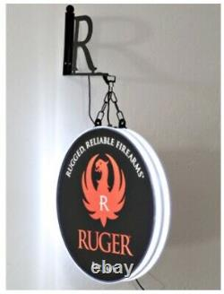 Ruger Firearm Gun Pistol Rifle Store Devant Double Face Halo Lighted Sign