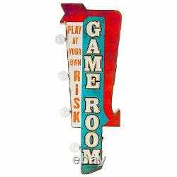 Salle De Jeu Double Sided Rustic Metal Marquee Led Light Up Arrow Sign Gameroom