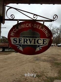 Service D'origine Mccormick Deering Porcelain Double Face Signer Avec Hanger