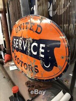 Service D'origine Porcelain United Motors 28,5 X 48 Signe Double Face