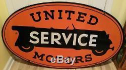 Service De United Motors Double Face Old Vintage Porcelain 48 X Connectez-vous 28.5 Pouces