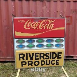 Signe D'annonce Double Face À Double Face Suspendu De Coca-cola Vintage