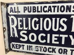 Signe D'émail Religious Tract Society Double Sided Porcelain Advertising Original