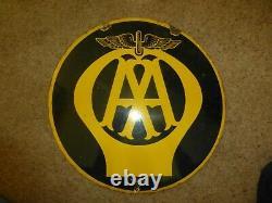 Signe D'émail Vintage Aa, 18 Diamètre, Double Face 1930-40s. Bonne Condition