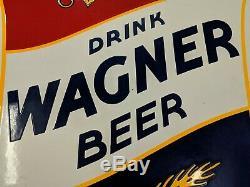 Signe De Bière Ultra Rare En Porcelaine À Double Face Des Années 1930 Wagner En Très Bon État