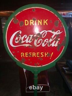 Signe De Coke Sucette À Double Face Avec Porcelaine Originale De Base