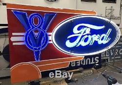 Signe De Concession Ford Neon V8 À Double Face, 6 Pieds Sur 10 Pieds