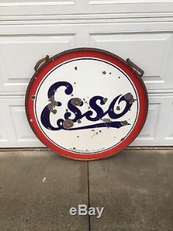 Signe De La Porcelaine Double Face Vintage Standard Esso 36 Dans La Bague Originale Avec Des Cintres