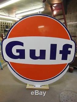 Signe De La Station D'essence Gulf Oil Vintage, 6 Pieds X 6 Pieds, En Porcelaine, À Double Face