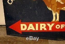 Signe De Laiterie Avec Vache - Porcelaine Double Face - Ferme Rare En Californie
