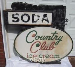 Signe De Magasin En Plein Air Pour Crème Glacée Soda Country Club Datant Des Années 1940, Double Face