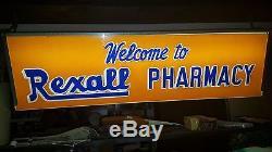 Signe De Publicité Double Face Éclairé Antique Rexall Drug Store Antique 1940