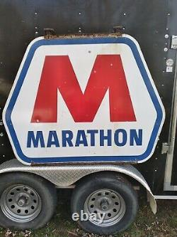 Signe De Publicité Double Sided De Station-service De Marathon De Porcelaine De Cru