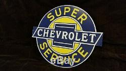 Signe De Revendeur De Station Service Service De Camions À Gaz Double Face En Porcelaine Vintage De Chevrolet