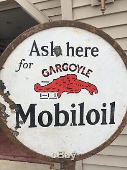 Signe De Sucette Double Face En Porcelaine Mobil Oil Gargoyle Avec Base Wadhams