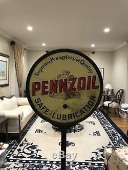 Signe De Sucette Double Face En Porcelaine Pennzoil Vintage Original Pennzoil