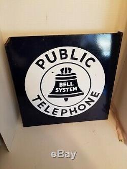 Signe De Téléphone Public Vintage Porcelaine Bell System Bride Double Face 18x18