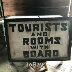 Signe De Tourisme Original Des Années 1920 Du Massachusetts Bois 25 X 35 Double Face