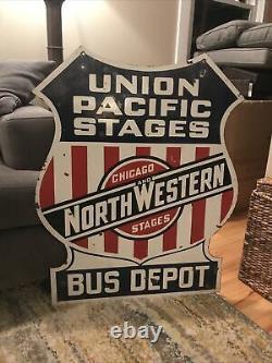 Signe Double De Porcelaine À Double Face De Dépôt D'autobus D'union Pacific