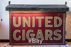 Signe Double Face Original De Cigares Unis De 5 Pieds De Long Avec Auvent En Métal Éclairé