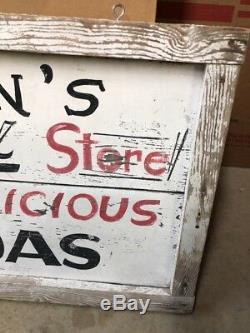 Signe En Bois Vintage Rexall Soda En Porcelaine, Drogue, Bijoux, Double Face