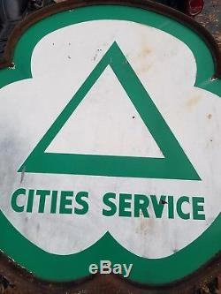 Signe Et Bague De Service Des Villes! Signe De 6 Pieds! Porcelaine! Double Face