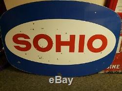 Signe Métal Porcelaine Huile Standard D'origine Sohio Double Face