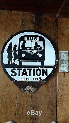 Signe Original Du Service De Police / Bus En Porcelaine À Double Face De Service Public 1953-1959nj