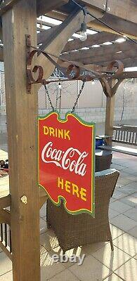 Signe Original En Métal Double Face De Coca Cola De Porcelaine