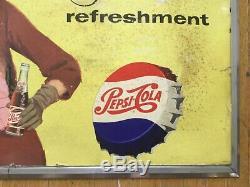 Signe Publicitaire Double Face En Carton Pepsi Cola Soda Vintage Avec Cadre Original