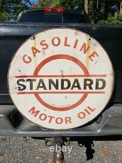 Signe Standard D'essence D'huile À Moteur Des Années 30. 30po. Porcelaine. Double Face