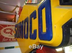 Signe Station D'huile Vintage Sunoco Illuminer Antique Double Dégrossi Signe De Travail
