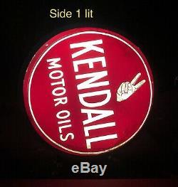 Signe Œuvres Originales Rare Vintage Kendall Motor Oil Neon Ronde Double Face