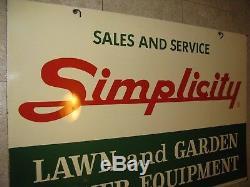 Simplicity Vintage Dealer Sign Tin Lourd Large Grande Suspension Double Face