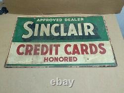 Sinclair Carte De Crédit Double Face Signe Peint Sur Métal Épais Rare Find
