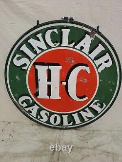 Sinclair Double Sided Porcelaine 48 Gas Oil Vintage Signe À Collectionner