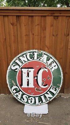 Sinclair Hc 48in Enseigne En Porcelaine Double Face