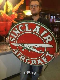Sinclair Signe Porcelaine Signe Avion Signe Huile Avions 30inch Double Signe Face