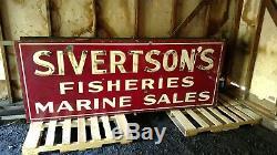 Sivertsons Fisheries Marine Sales Enseigne En Porcelaine À Double Face Vieux Néon Non Pétrole