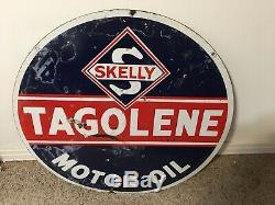 Skelly Gaz Tagolene Huile Moteur Porcelaine Publicité Signe Double Face 30 Rare