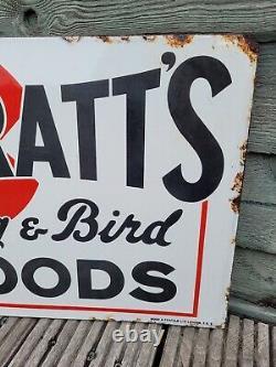 Spratts À Brange À Double Face Original Chien & Bird Foods Enamel Signe 16x12