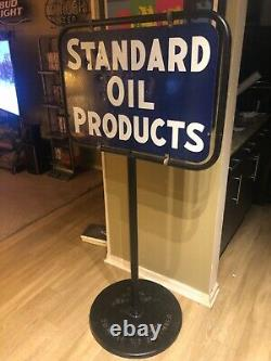 Standard Motor Oil Company Gas Station Curb Signe Double Sided Porcelain Antique