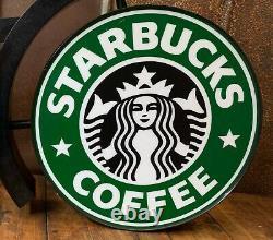 Starbucks Coffee 18 Authentique Double Face Lighted Signe Siren 1992 Logo De Travail