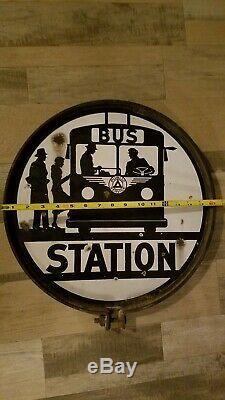 Station D'arrêt D'origine Bus De Service Public 16 Porcelaine Émaillée Double Signe Face
